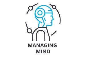 managing mind thin line icon, sign, symbol, illustation, linear concept, vector