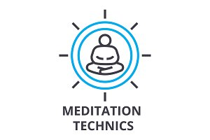 meditation technics thin line icon, sign, symbol, illustation, linear concept, vector