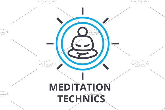 Meditation Technics Thin Line Icon Sign Symbol Illustation Linear Concept Vector