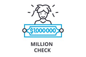 million check thin line icon, sign, symbol, illustation, linear concept, vector