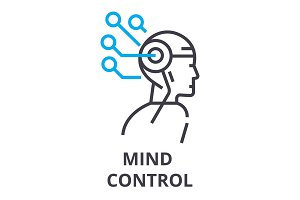 mind control thin line icon, sign, symbol, illustation, linear concept, vector