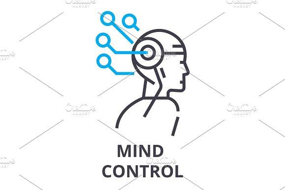 Mind Control Thin Line Icon Sign Symbol Illustation Linear Concept Vector