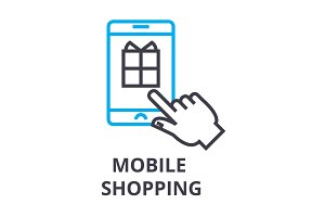 mobile shopping thin line icon, sign, symbol, illustation, linear concept, vector