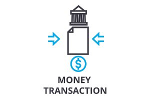 money transaction thin line icon, sign, symbol, illustation, linear concept, vector