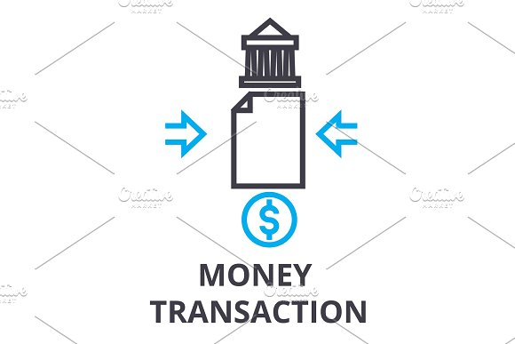 Money Transaction Thin Line Icon Sign Symbol Illustation Linear Concept Vector