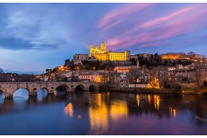 St. Nazaire Cathedral and Pont Vieux in Beziers, France