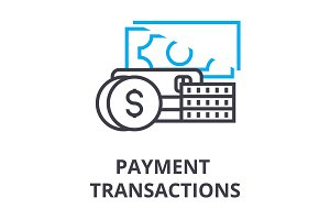 payment transactions thin line icon, sign, symbol, illustation, linear concept, vector