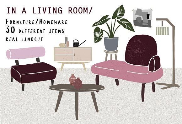 In A Living Room Linocut Furniture