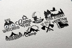 Retro Camping Labels