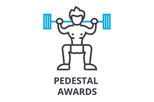 pedestal awards thin line icon, sign, symbol, illustation, linear concept, vector