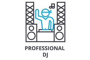 professional dj thin line icon, sign, symbol, illustation, linear concept, vector
