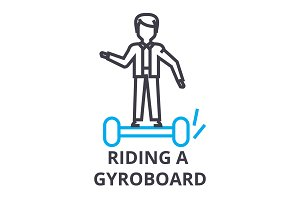 riding a gyroboard thin line icon, sign, symbol, illustation, linear concept, vector