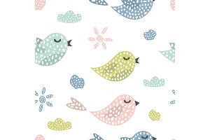 Childish seamless pattern with cute birds. Creative texture for fabric