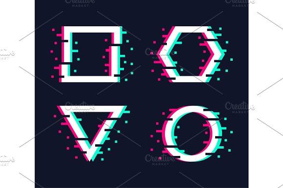 Vector Glitch Frames Set