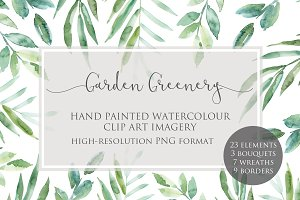 Garden Greenery Watercolor Clipart