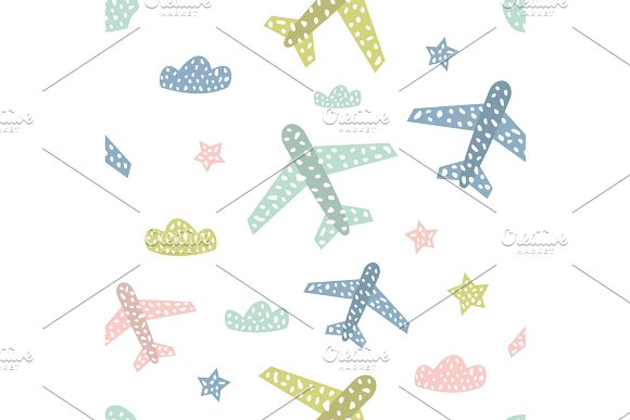 Childish Seamless Pattern With Cute Airplanes