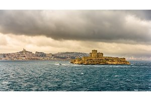 View of the If castle in the Mediterranean sea - France