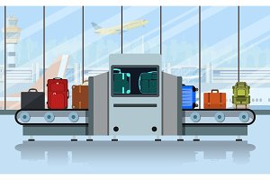 Airport conveyor belt with passenger luggage