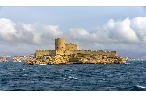 View of If castle in Mediterranean sea - France