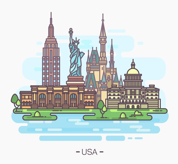 USA Landmarks Statue Of Liberty Capitol