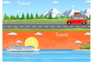 Travel Web Banner Car Drive Road,