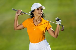 Attractive model with golf driver