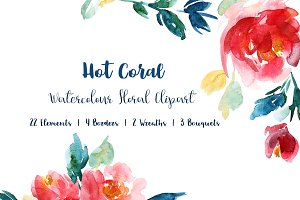 Hot Coral Floral Watercolour Clipart