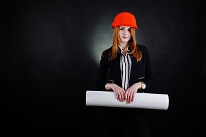 Engineer woman in protect helmet