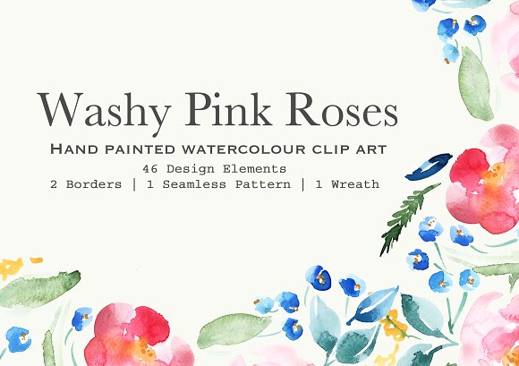 Pink Roses Watercolor Clipart