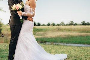 Newlyweds couple together on wedding
