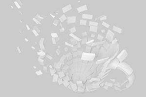3d blasted mug rendering design element background