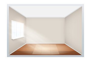 Example of empty room with window on side.