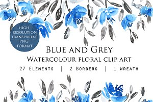 Blue and Grey Floral Clipart
