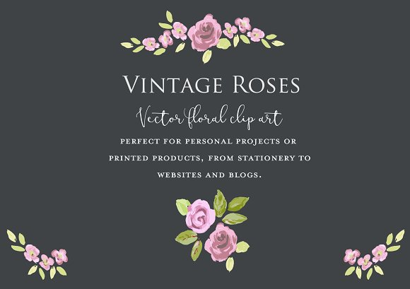 Vector Vintage Roses Clipart