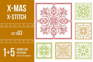 Cross stitch snowflakes patterns, 03