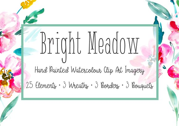 Bright Meadow Floral Clipart