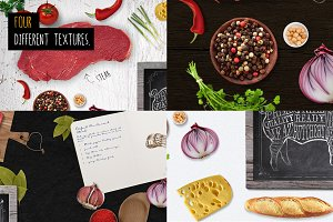 Food on table scene Mock Up