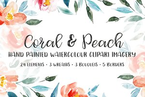 Coral & Peach Floral Clipart
