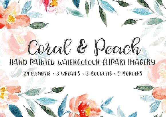 Coral Peach Floral Clipart