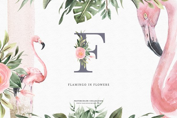 Watercolor Flamingo Flowers
