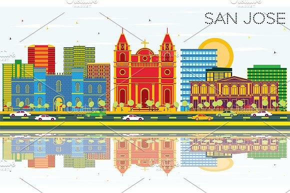 San Jose Skyline With Color Building