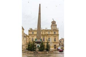 Obelisk on the Place de la Republique in Arles, France