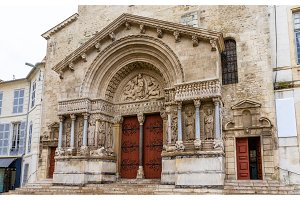 Entrance of the Church of St. Trophime in Arles - France