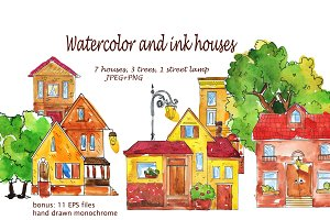 Watercolor and ink houses