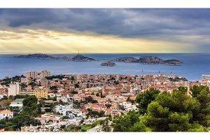 View of the Frioul archipelago from Marseille - France, Provence