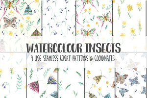 Watercolor Insects Pattern