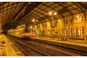 Regional train leaving Avignon station - France
