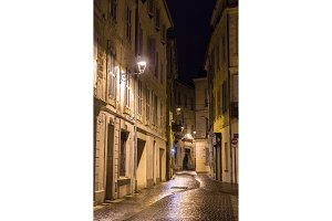 A street in night Avignon - France