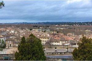 View of Avignon with Rhone river - France