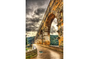 HDR image of Pont du Gard, ancient Roman aqueduct listed in UNES